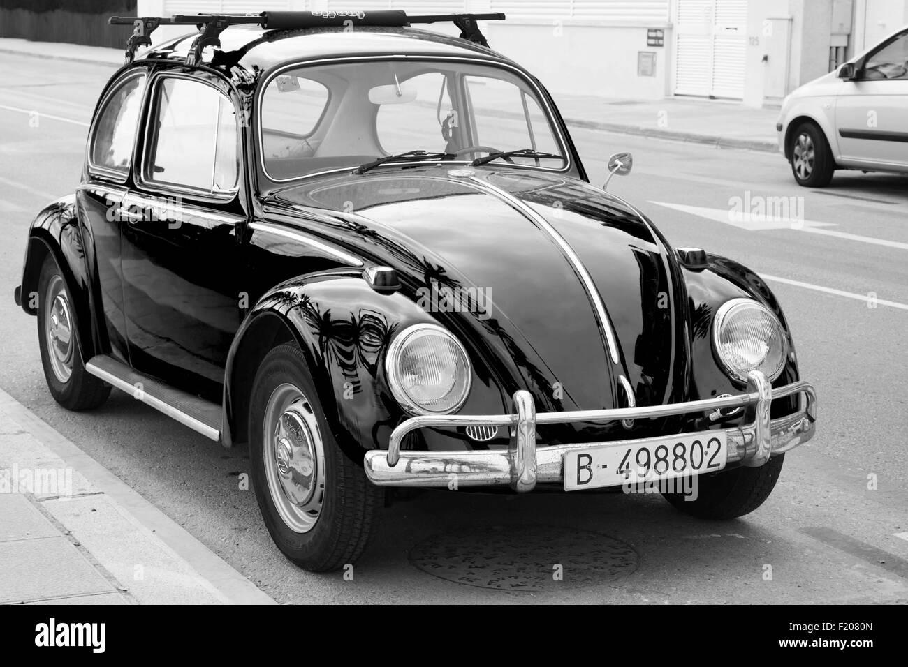 Calafel, Spain - August 20, 2014: Volkswagen Kafer stands parked on the roadside - Stock Image