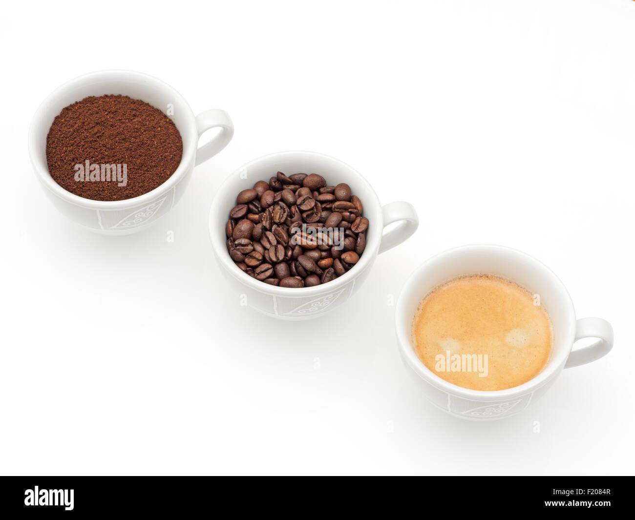3 Tassen mit Kaffee - Stock Image