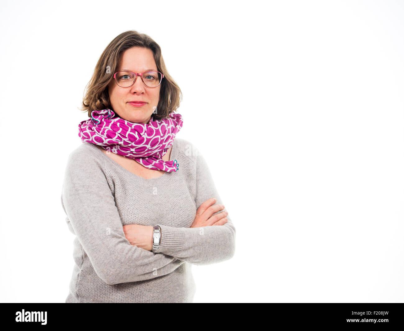Frau mit verschränkten Armen - Stock Image