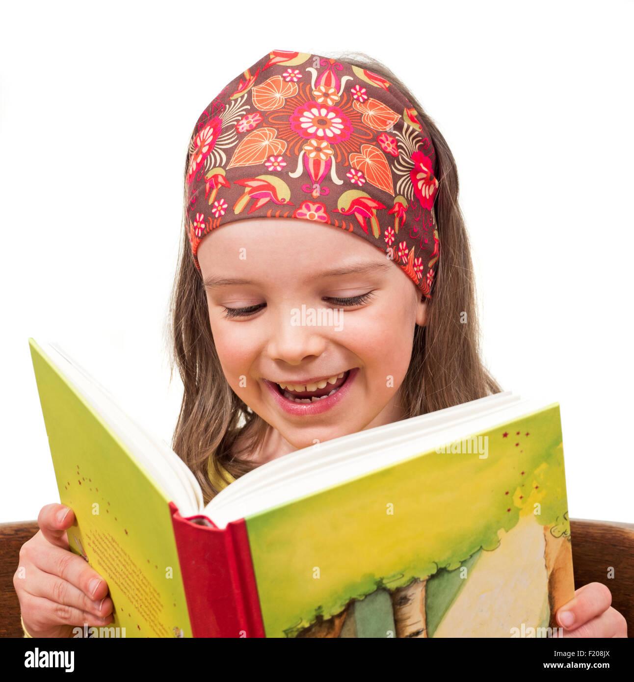 Mädchen mit Buch - Stock Image