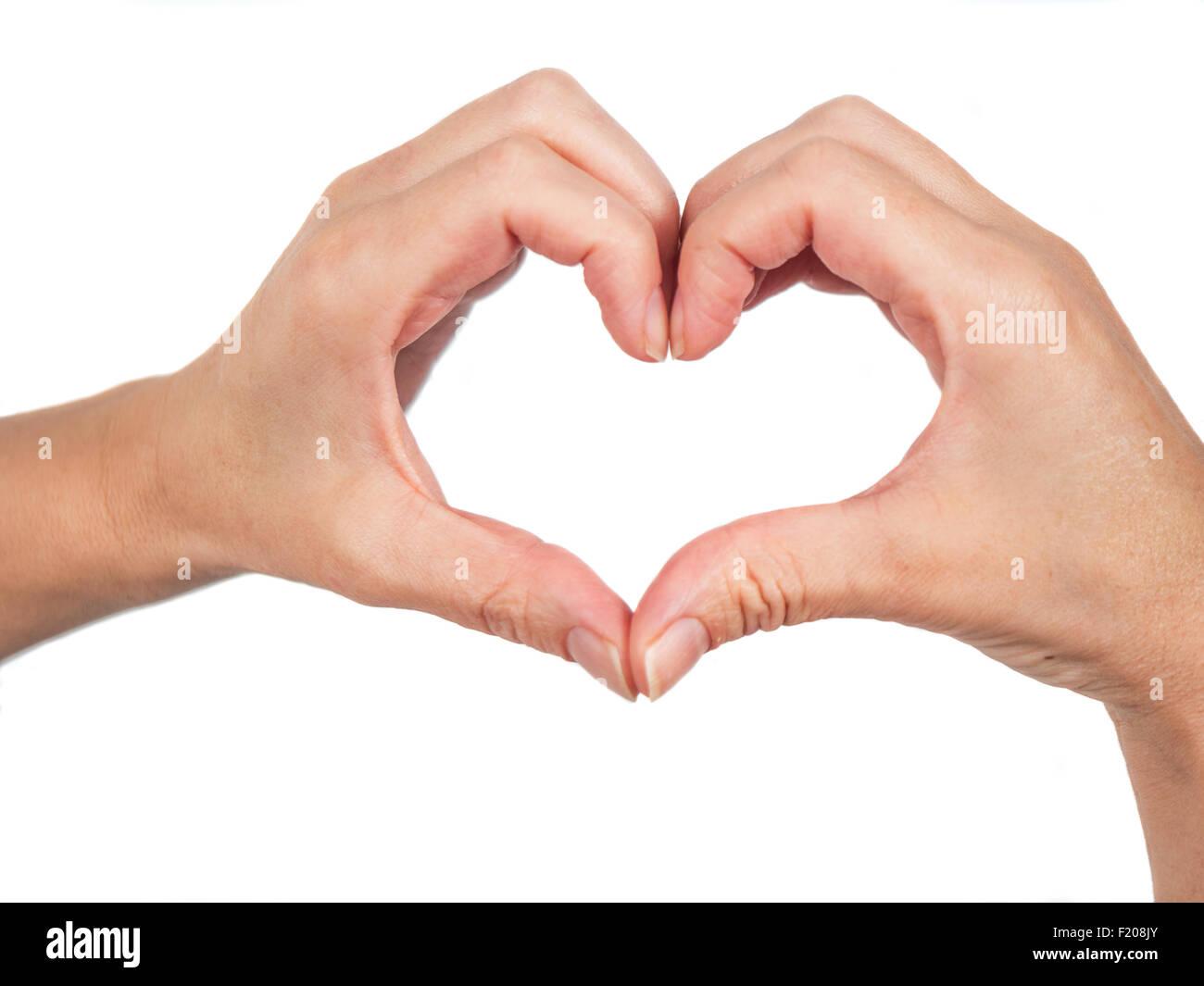 Hände formen ein Herz - Stock Image
