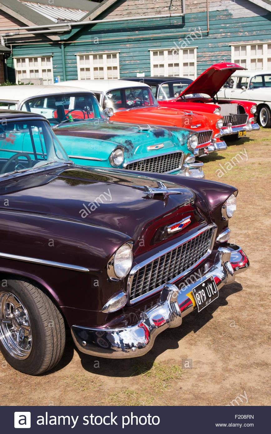 Line of fifties vintage Chevrolet cars at Brooklands, Weybridge, Surrey, England - Stock Image