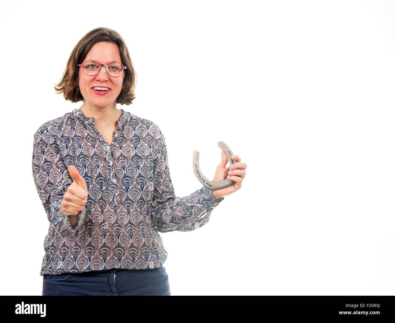 Frau wünscht Glück - Stock Image