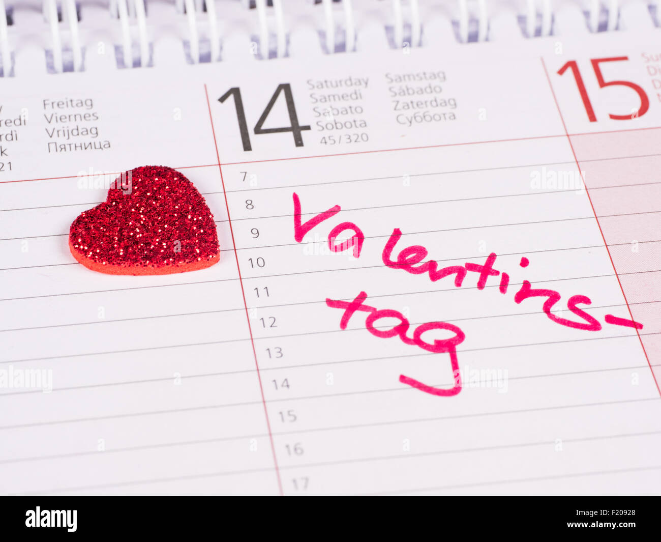 Kalendereintrag Valentinstag - Stock Image