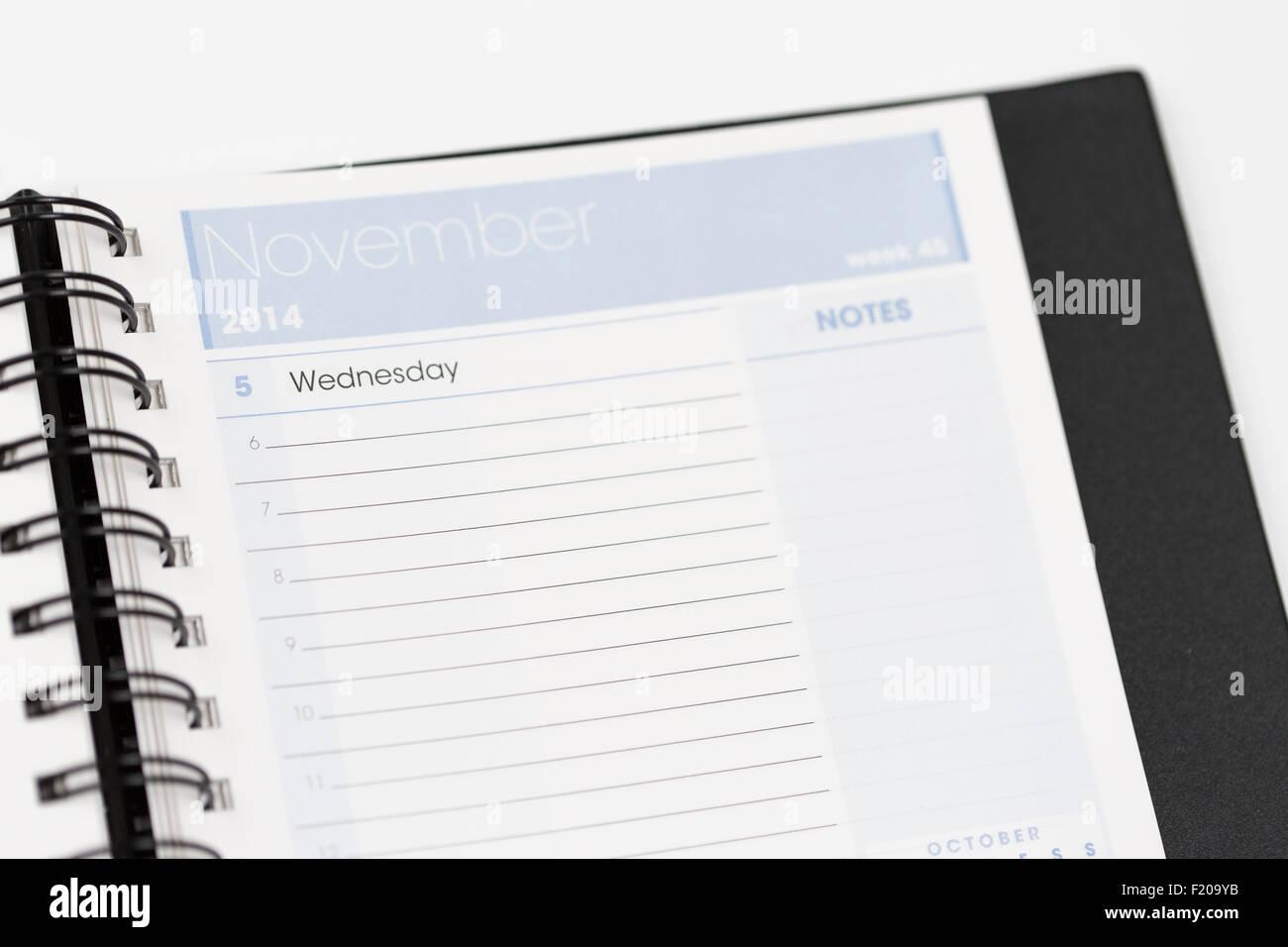 Calendar November 2014 Diary Organiser Organizer - Stock Image