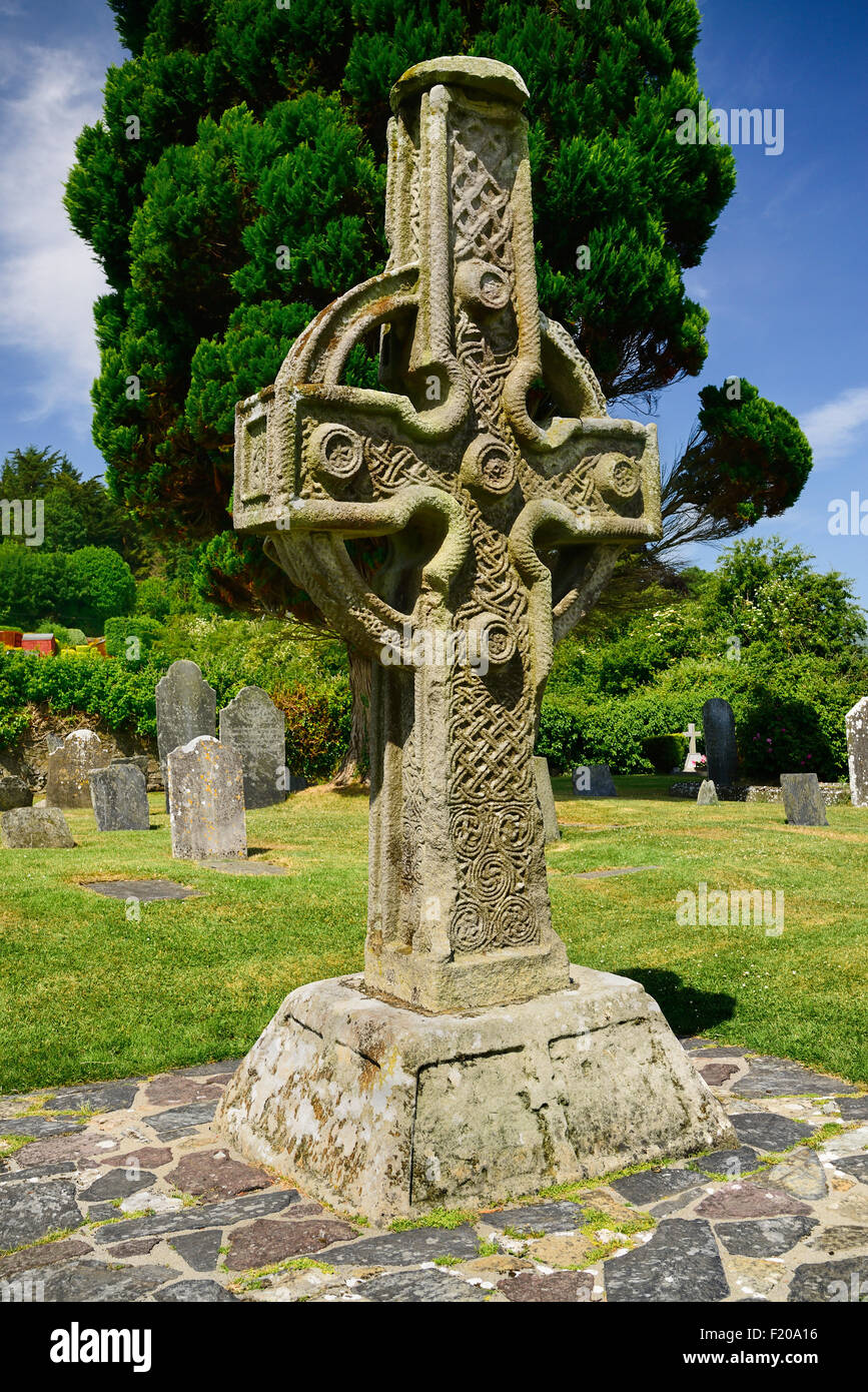 Ireland, County Tipperary, Carved Celtic Cross at Ahenny, The South Cross. - Stock Image