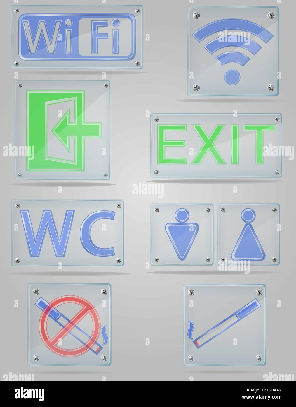 set icons transparent signs for public places on the plate vector illustration isolated on gray background - Stock Vector