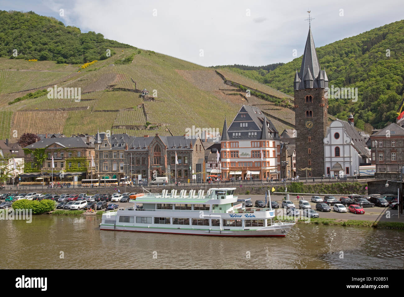 Krover Reich pleasure boat moored on quayside Bernkastel Germany - Stock Image