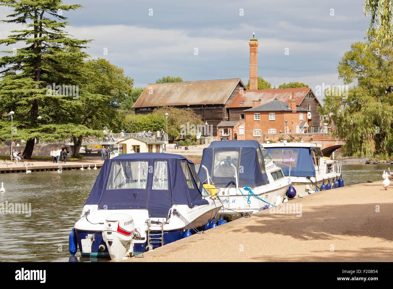 Cruisers moored on the River Avon, Stratford upon Avon, Warwickshire, England, UK - Stock Image