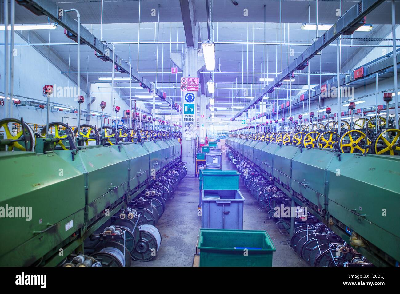 Machinery for rope production in factory that produces products for boating and camping - Stock Image