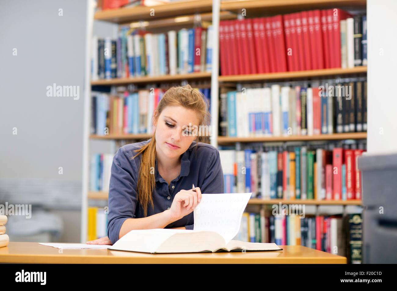 Young female student reading textbook at library desk - Stock Image
