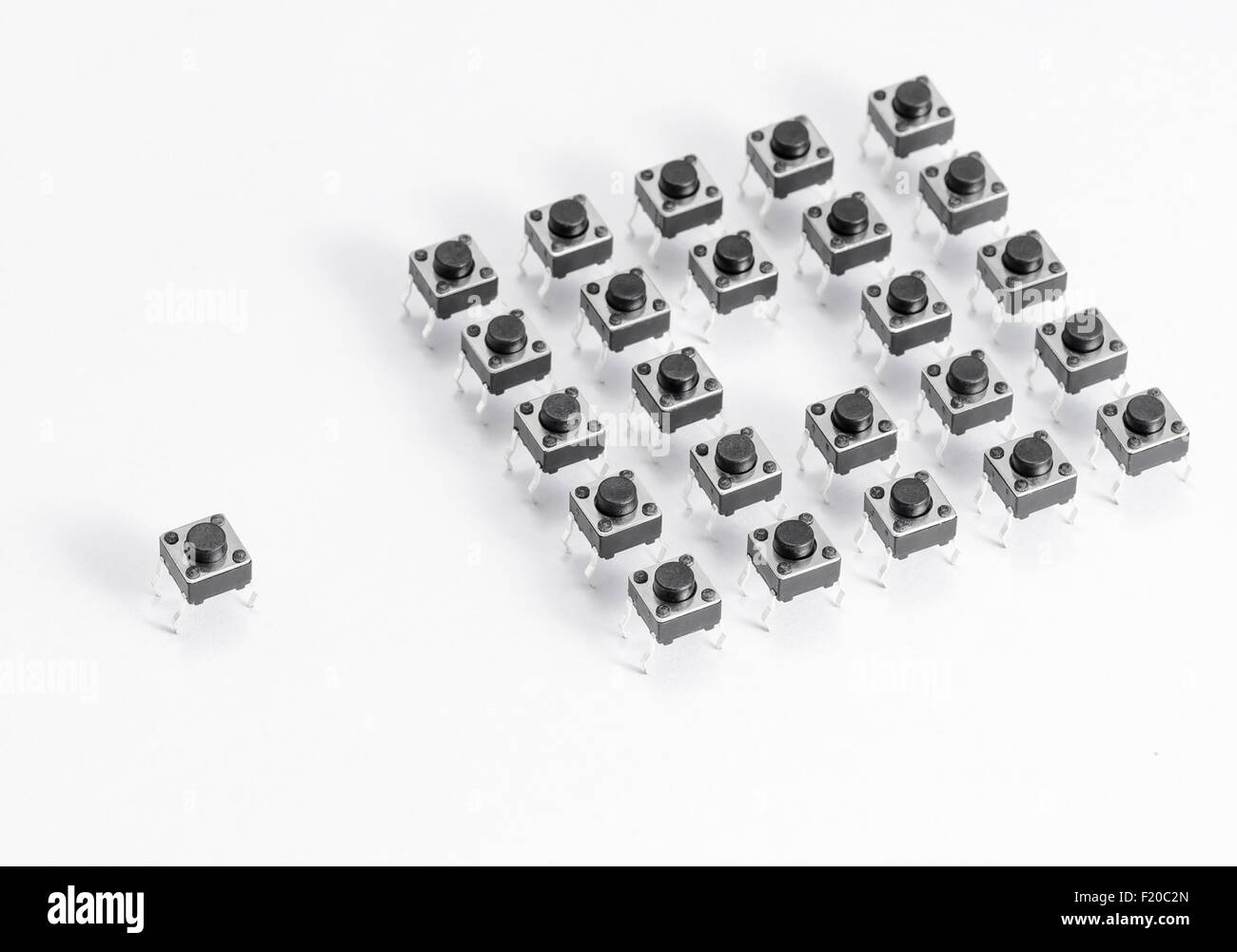 Microswitch isolated on white background - Stock Image