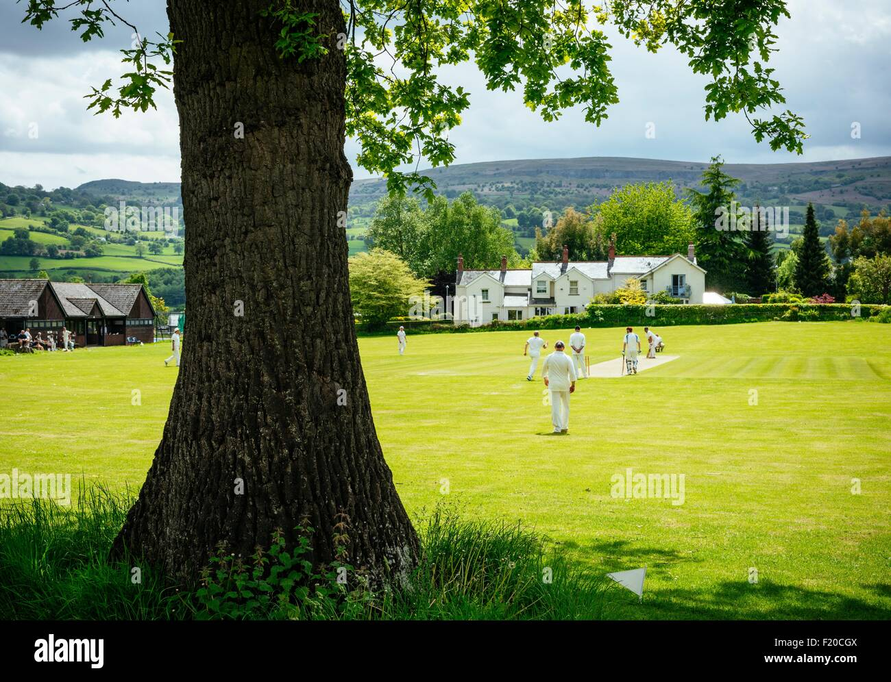 Cricket game, Crickhowell, Brecon Beacons, Powys, Wales, UK - Stock Image