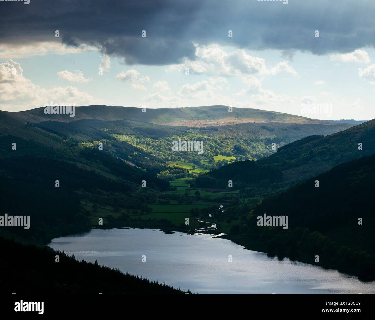 Talybont Reservoir and Glyn Collwn Valley, Brecon Beacons National Park, Wales, UK - Stock Image