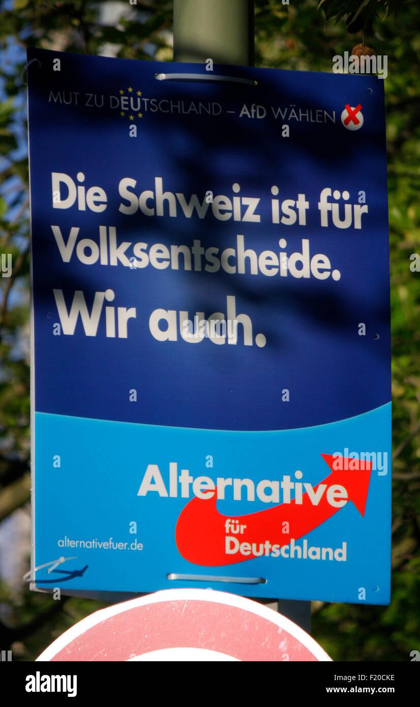 'Die Schweiz ist fuer Volksentscheide. Wir auch', Alternative fuer Deutschland  - Wahlplakate zur anstehenden - Stock Image