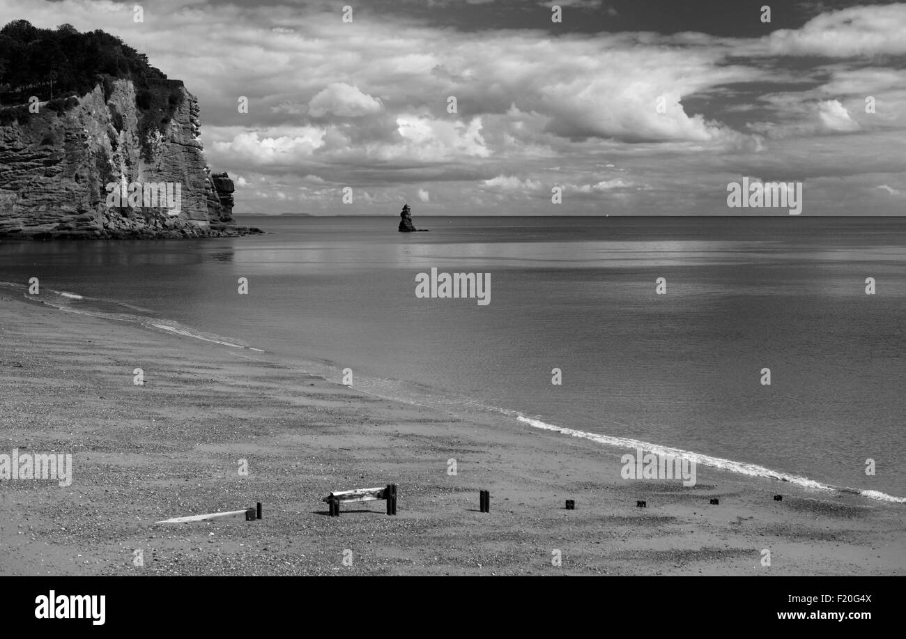 Dramatic sky over the sea at Hole Head, Holcombe, overlooking Shag Rock. - Stock Image