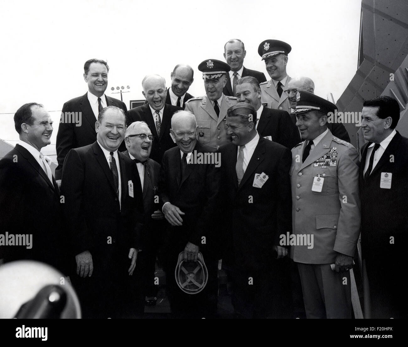 U.S. President Dwight Eisenhower stands with officials during the Dedication of the Marshall Space Flight Center - Stock Image