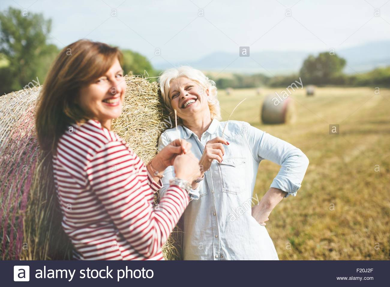 Two mature female friends with straw grass, Tuscany, Italy - Stock Image