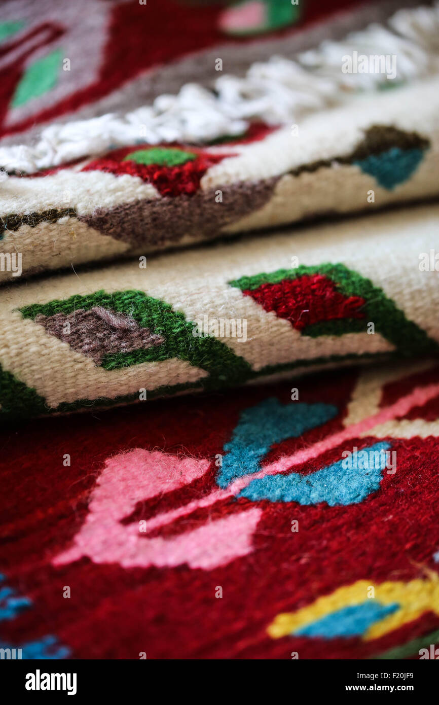 Colorful handloomed rugs from Romanian. - Stock Image