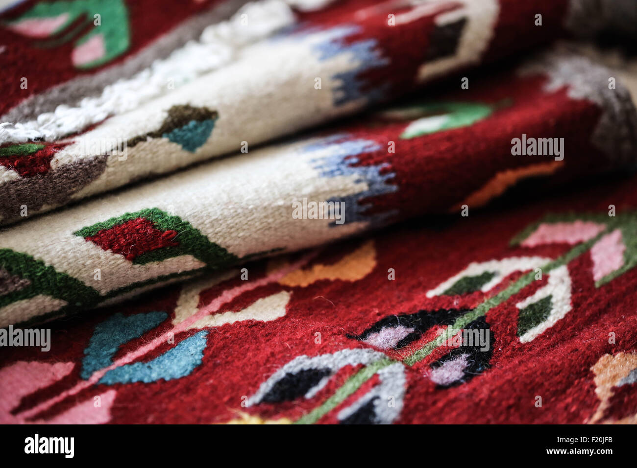 Handloomed rugs from Romanian. - Stock Image