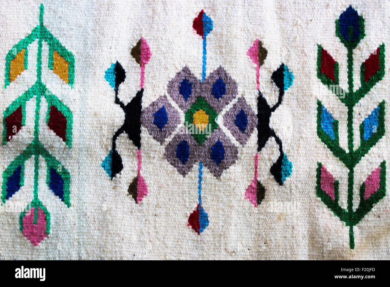 Detail of a traditional handloomed rugs from Romanian. - Stock Image