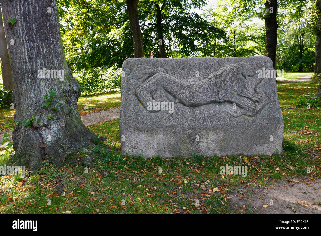 Hamlet's Grave in Marienlyst Palace Garden, Elsinore.  A large granite stone shaped like a sarcophagus. See - Stock Image