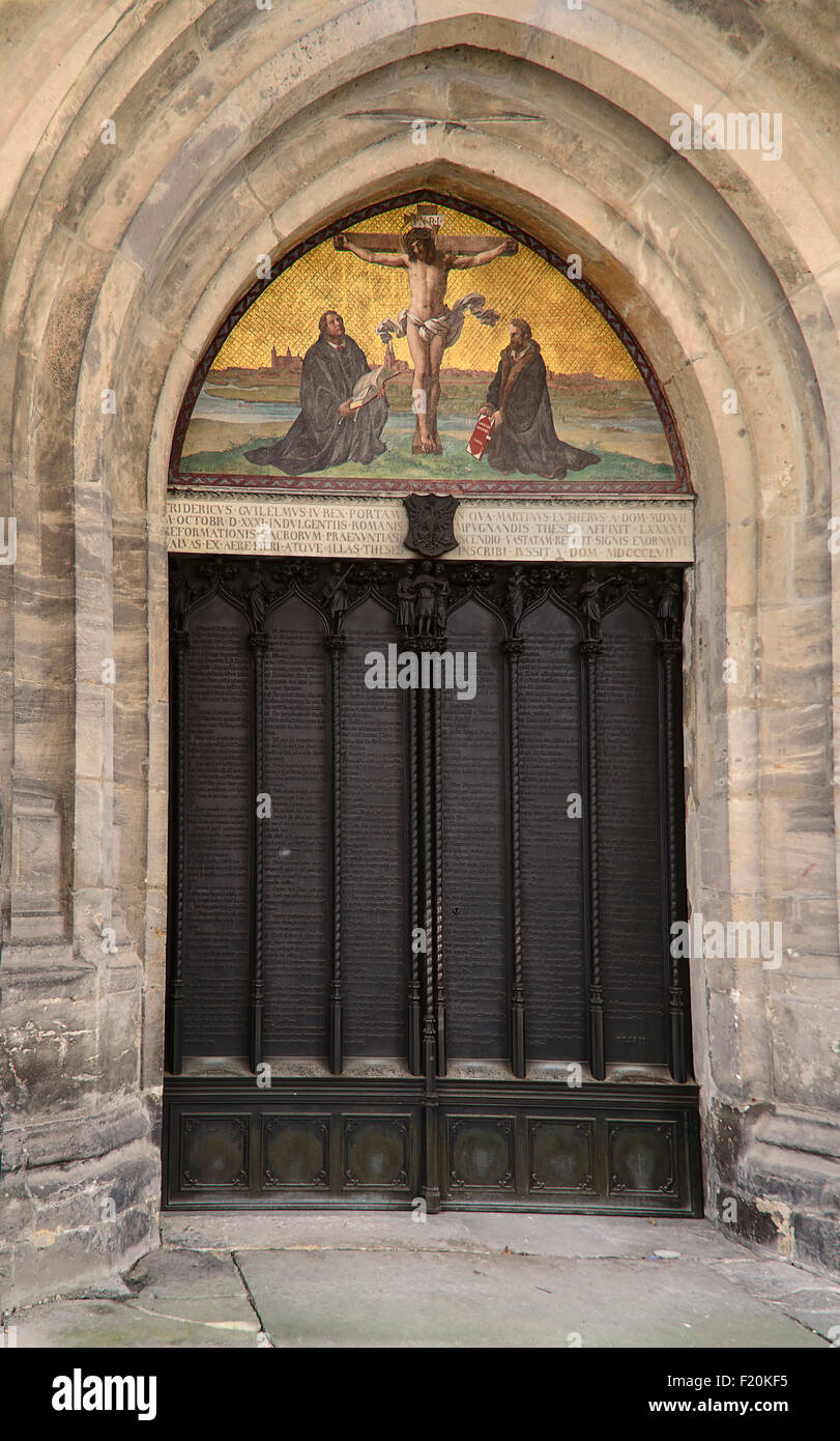 Germany Saxony Anhalt Lutherstadt Wittenberg The Schlosskirche or Castle Church also known as All Saints Church - Stock Image