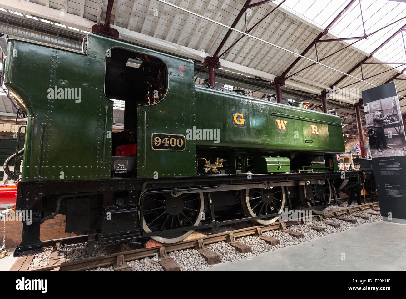 Great Western Railway 9400 is a 0-6-0 pannier tank steam locomotive used for shunting and banking duties. Swindon Stock Photo
