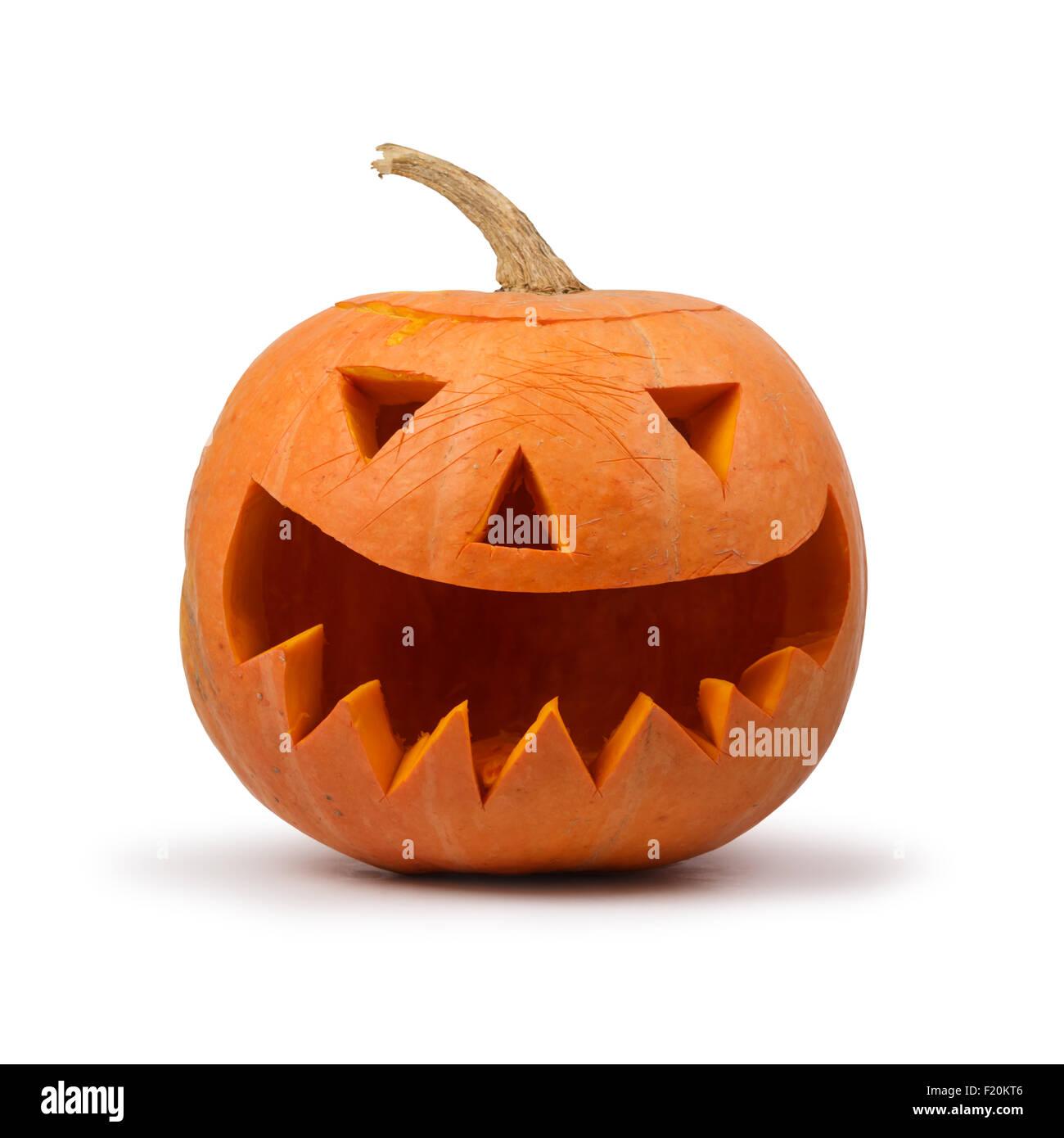 halloween pumpkin isolated on white - Stock Image
