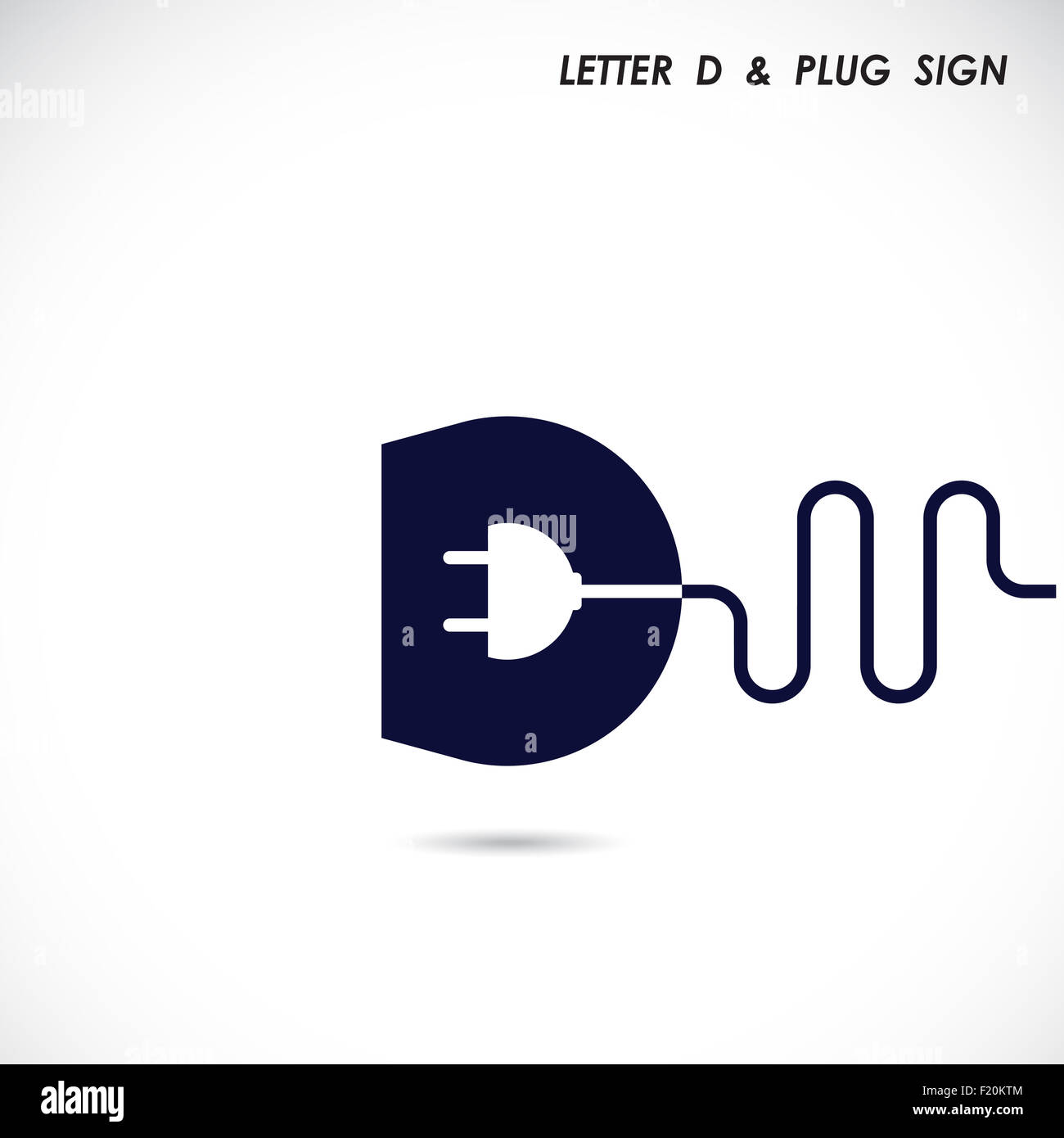 Creative Letter D Icon Abstract Logo Design Template With Electrical Plug Symbol Corporate Business