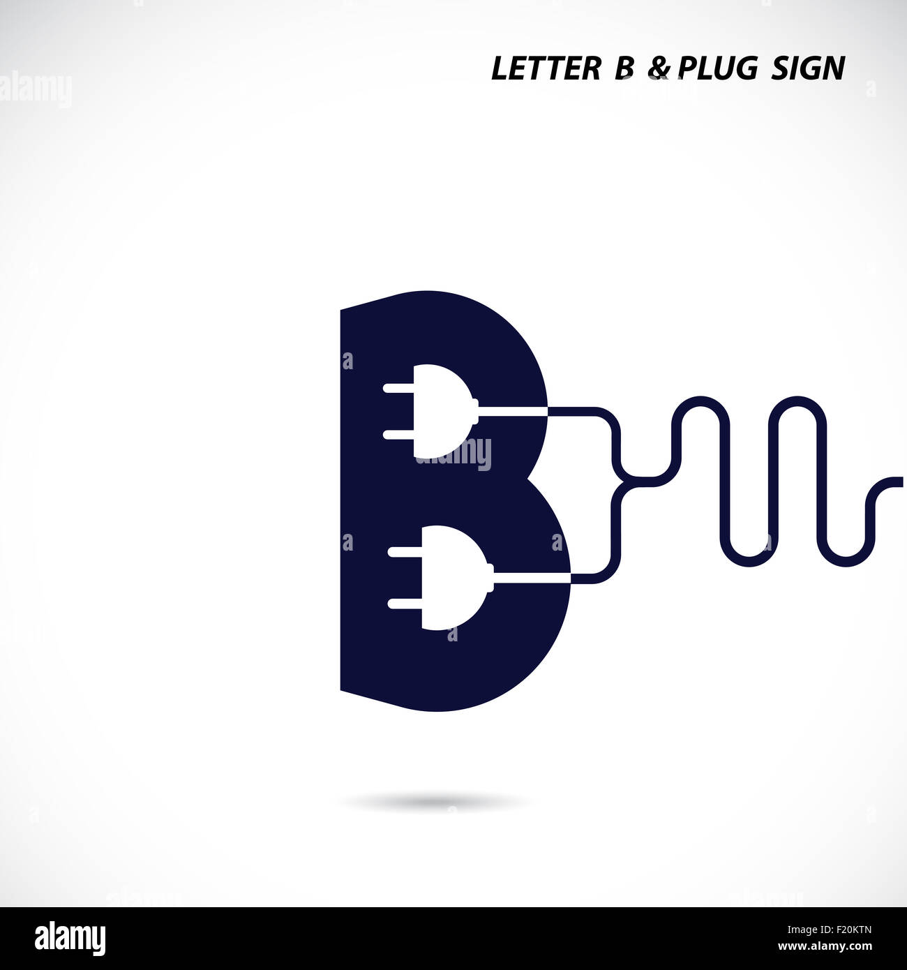 Creative Letter B Icon Abstract Logo Design Template With Electrical Plug Symbol Corporate Business Logotype