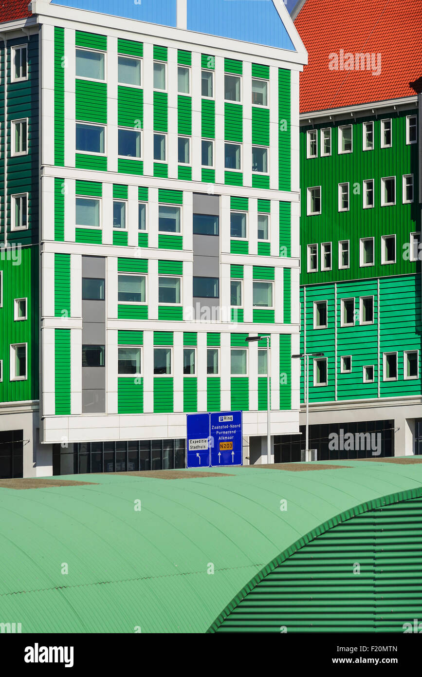 Netherlands, Noord Holland, Zaandam, Zaandam Town Hall, A section of one wing of the building. - Stock Image
