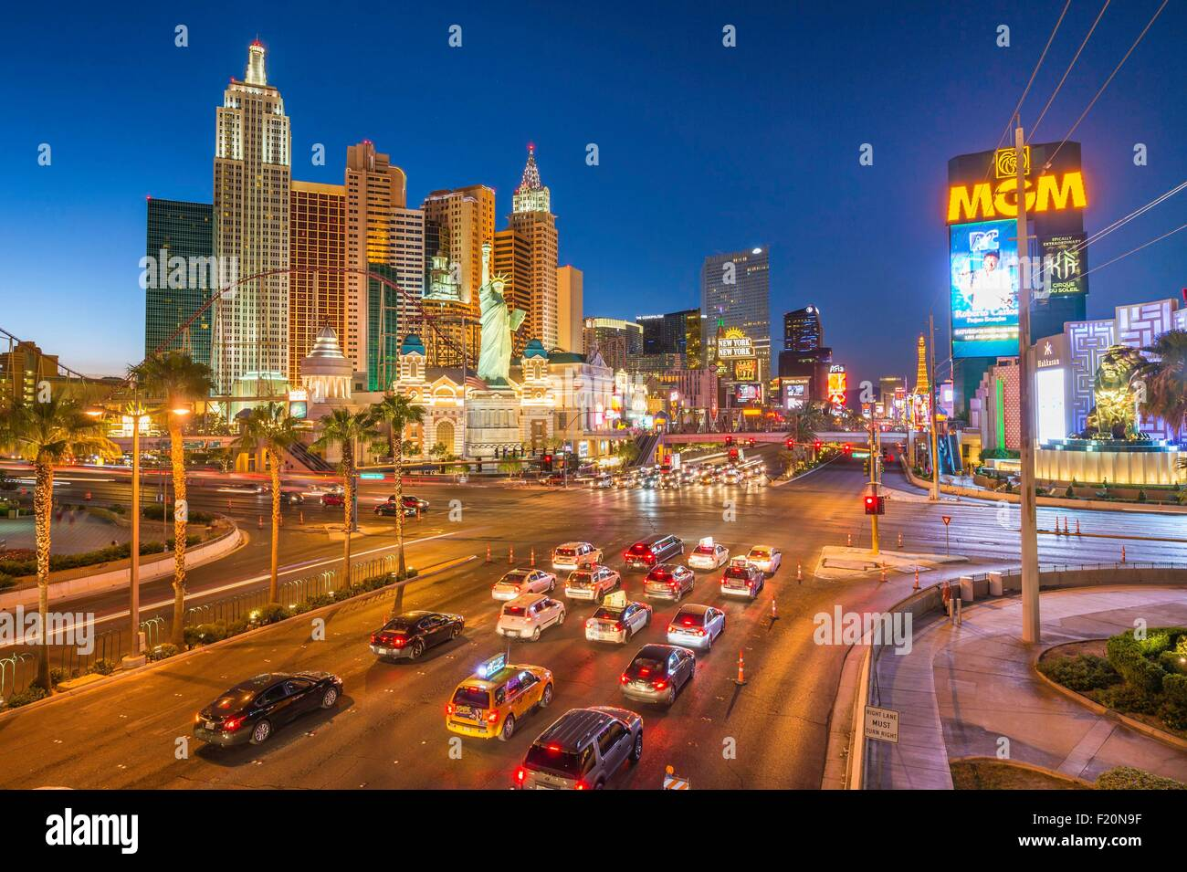 United States, Nevada, Las Vegas, the Strip, New York New York Hotel and Casino - Stock Image