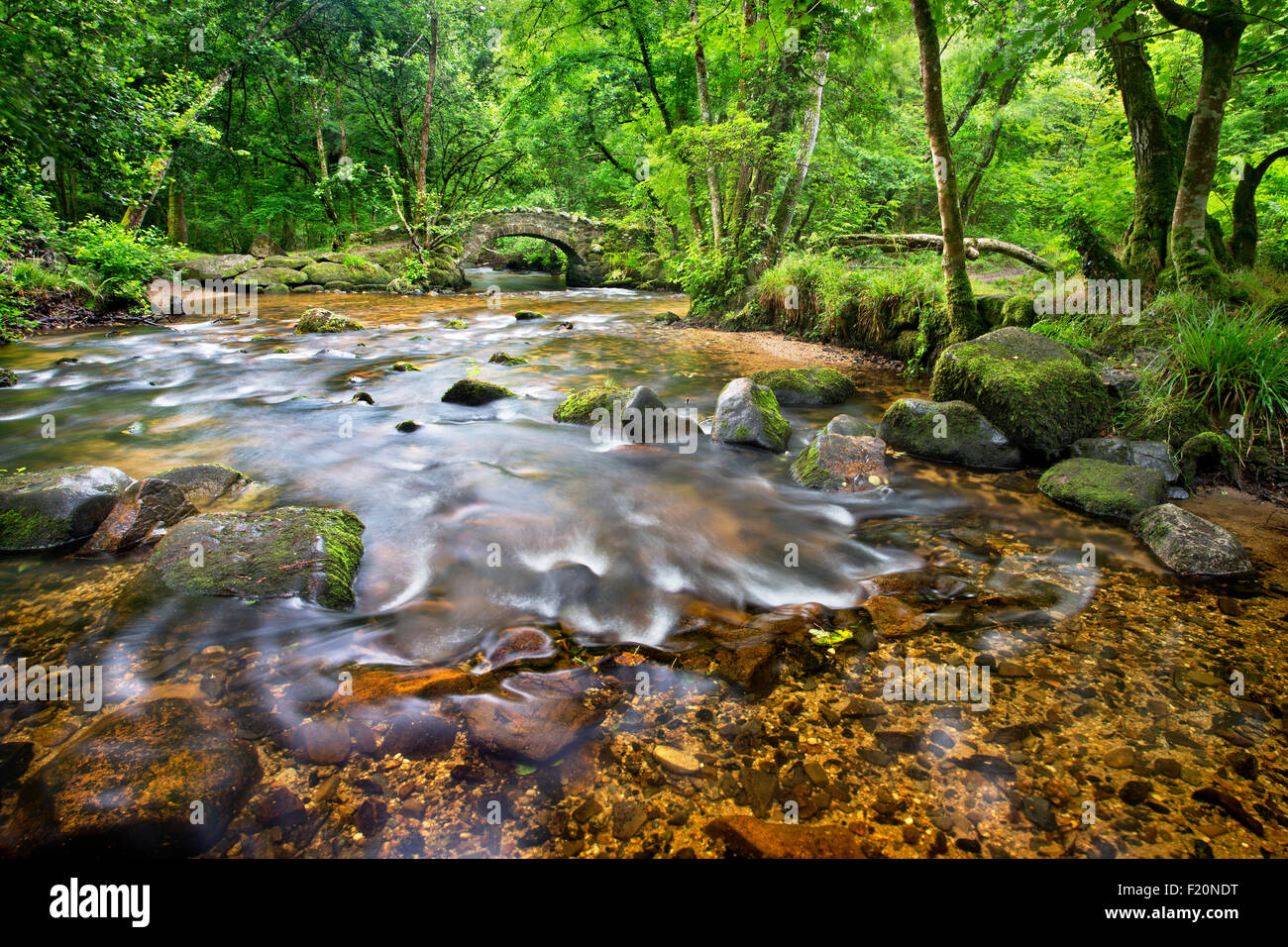 Hisley Bridge on the river Bovey on Dartmoor, Devon, UK - Stock Image