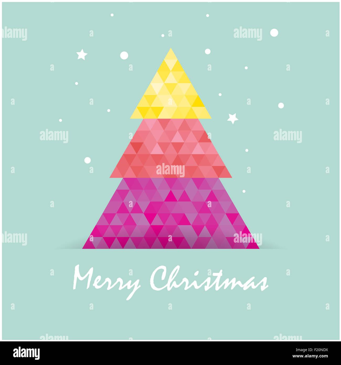 Christmas postcard template with christmas tree Stock Photo ...