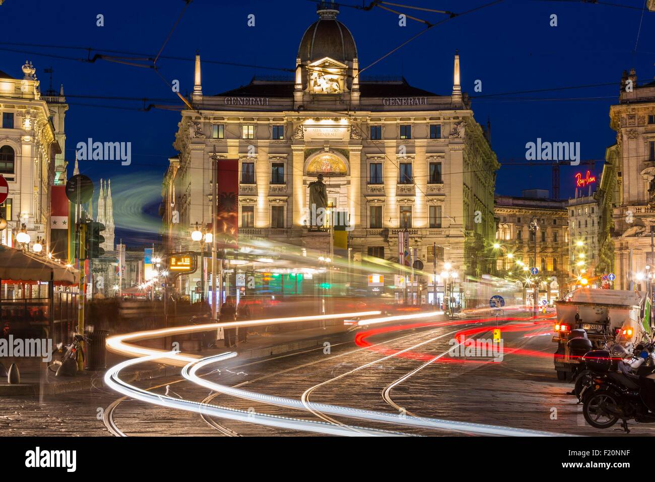 Italy, Lombardy, Milan, piazza Cordusio square - Stock Image