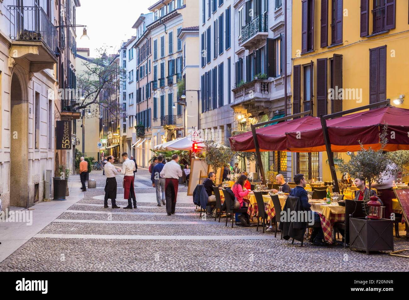 Italy, Lombardy, Milan, restaurant street via Marco Formentini Mengoni - Stock Image