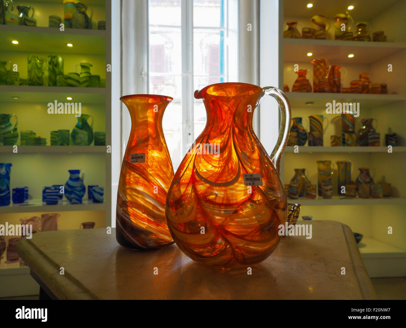 Traditional glassware from Mdina, Malta - Stock Image