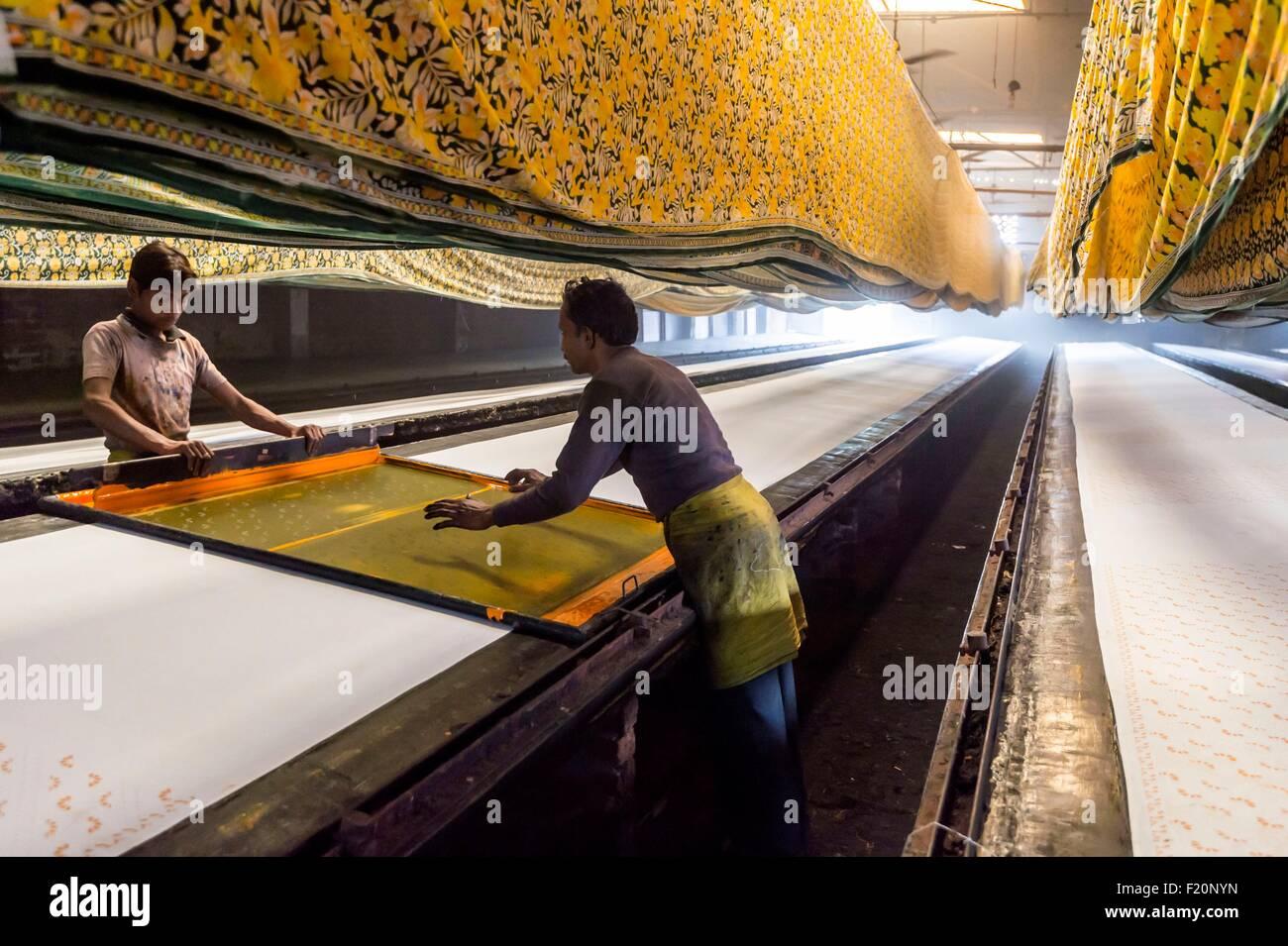 India, Rajasthan state, Sanganer, Coton printing - Stock Image