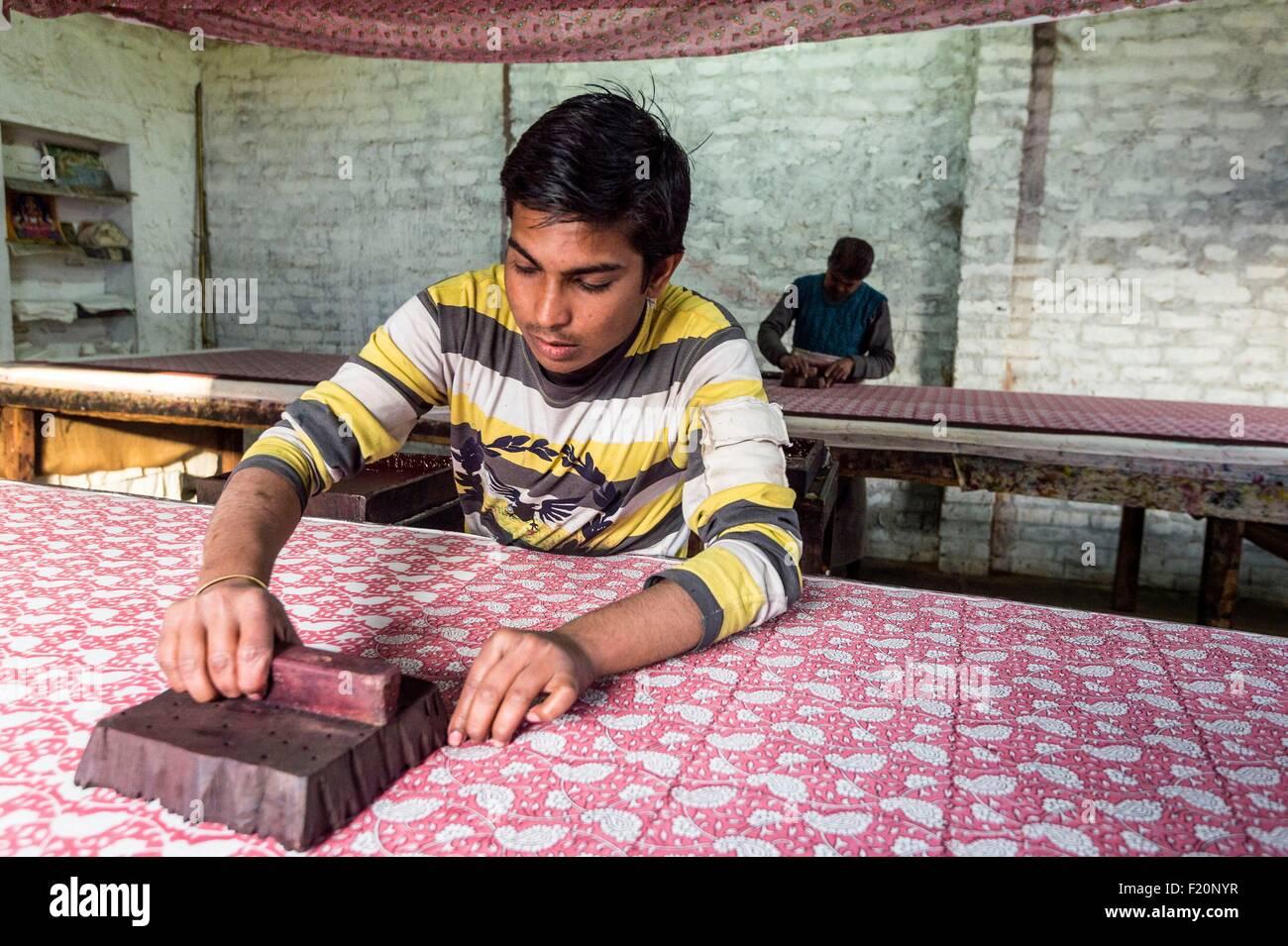 India, Rajasthan state, Sanganer, Block printing of coton - Stock Image