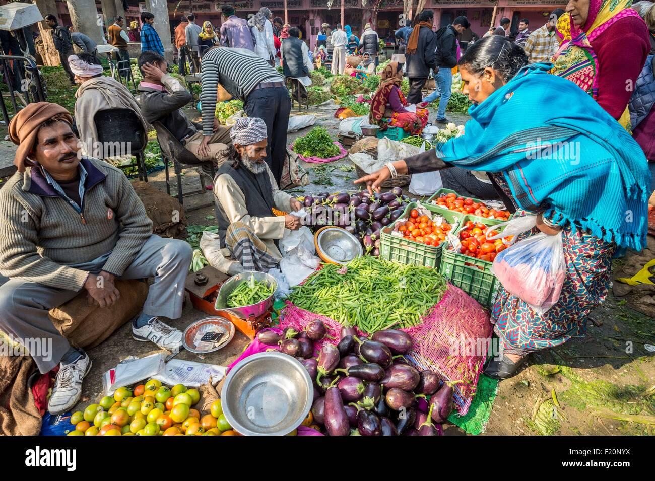 India, Rajasthan state, Jaipur, Chandi Ki Taksal vegetable market Stock Photo