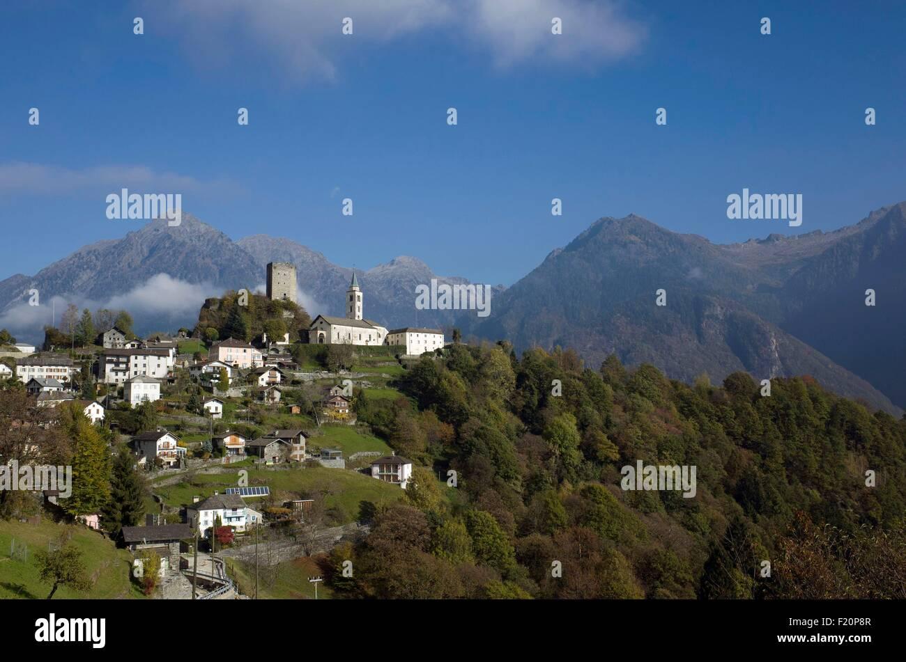 Switzerland, Graubunden, val Calanca, Santa Maria village in autumn Stock Photo