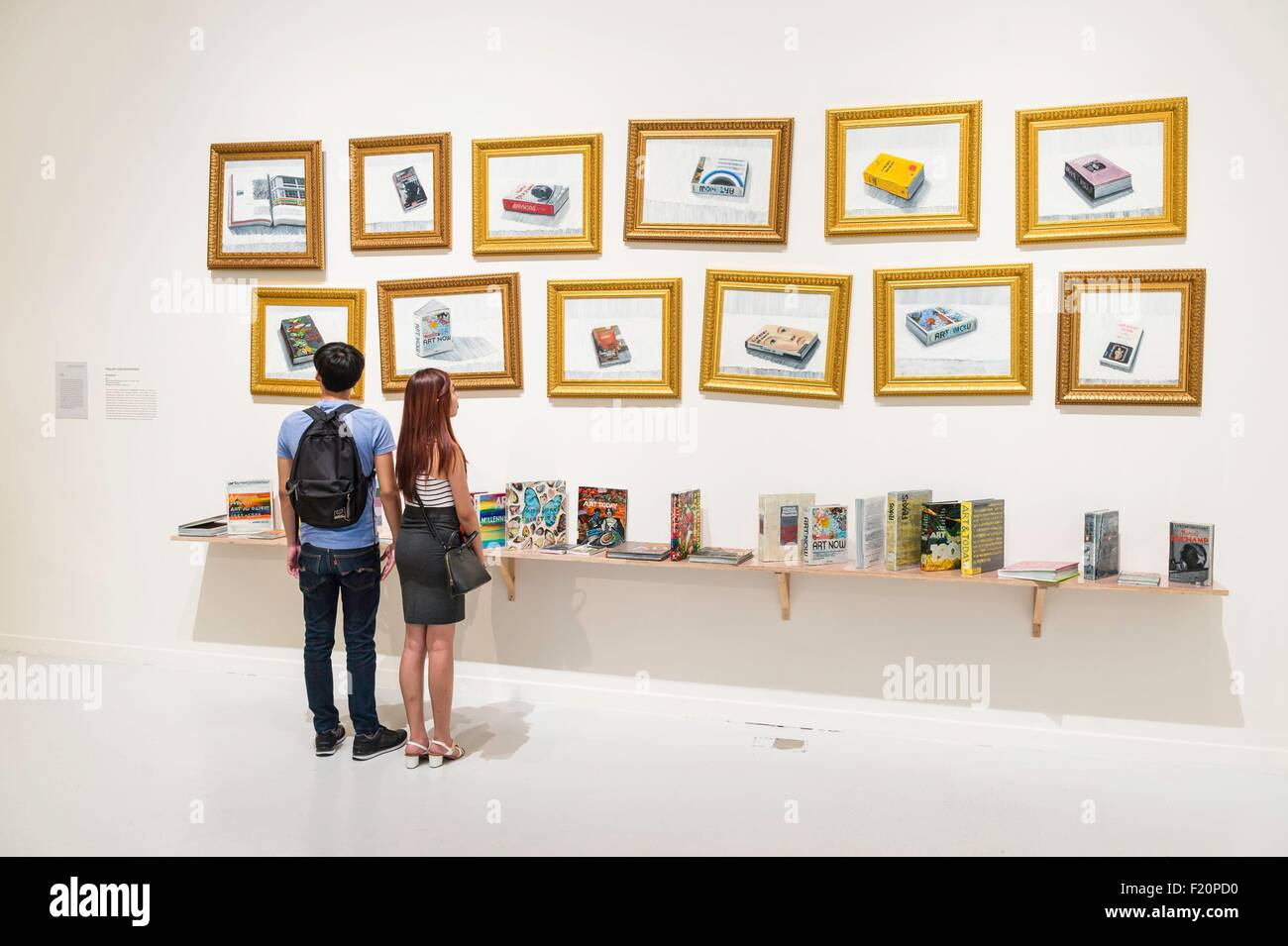 Singapore, Singapore Art Museum, Bookshelf by Torlarp Laroensook - Stock Image
