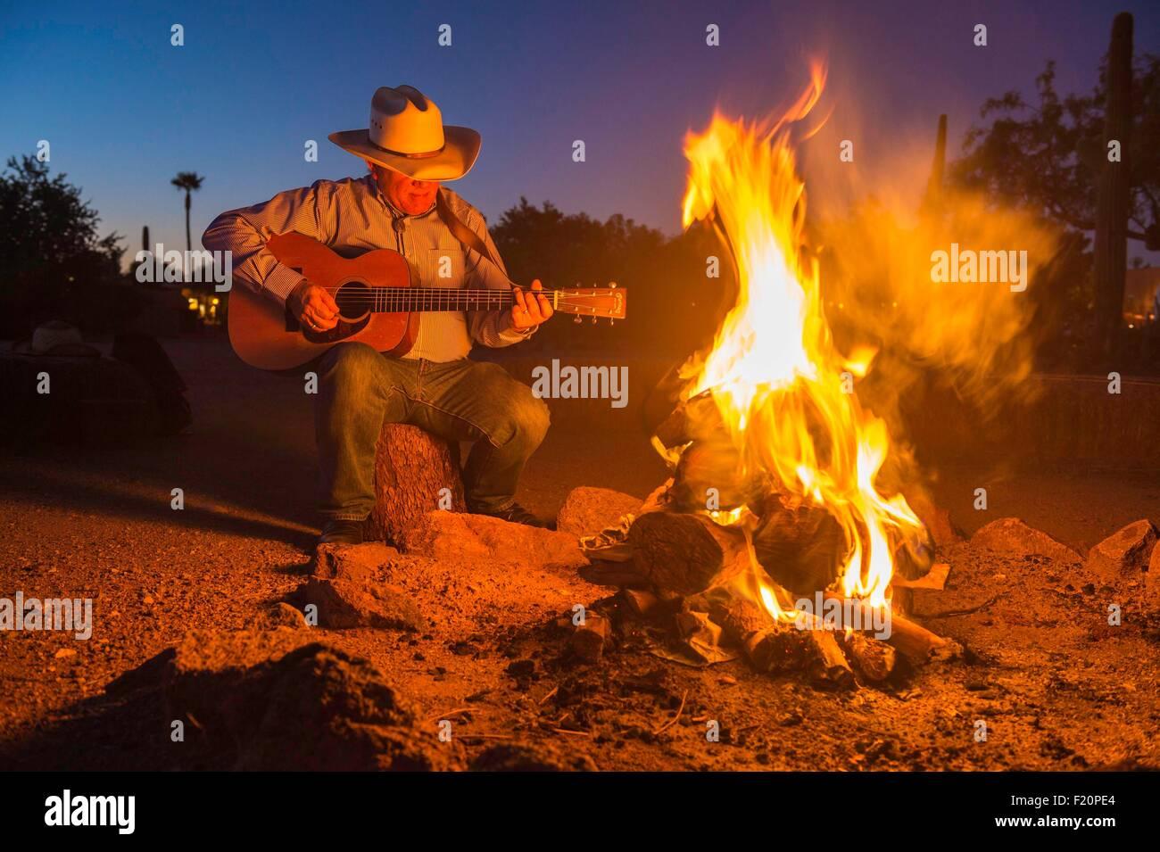 United States, Arizona, Tucson, White Stallion Ranch, Bill Ganz giving a concert - Stock Image