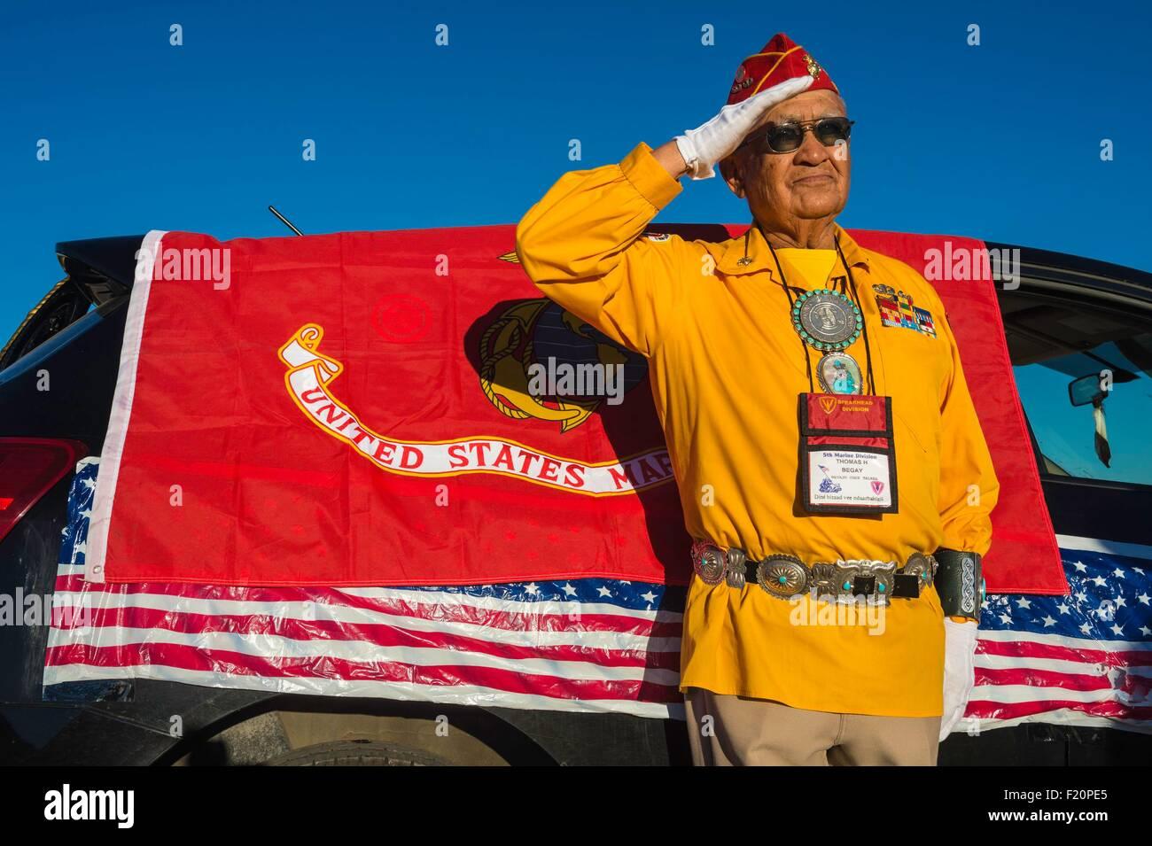 United States, Arizona, Window Rock, Festival Navajo Nation Fair, parade, Navajo code talker - Stock Image