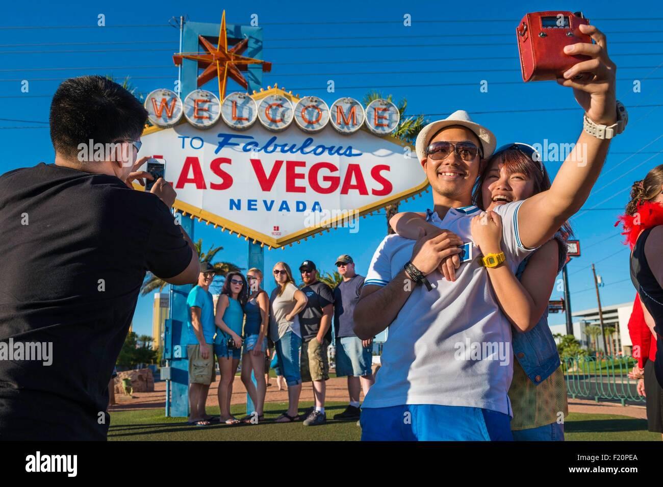 United States, Nevada, the Strip, Las Vegas sign on Las Vegas Boulevard - Stock Image