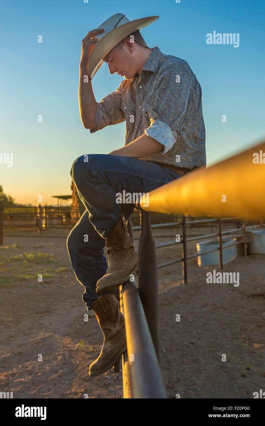 United States, Arizona, Tucson, White Stallion Ranch, cow boy - Stock Image
