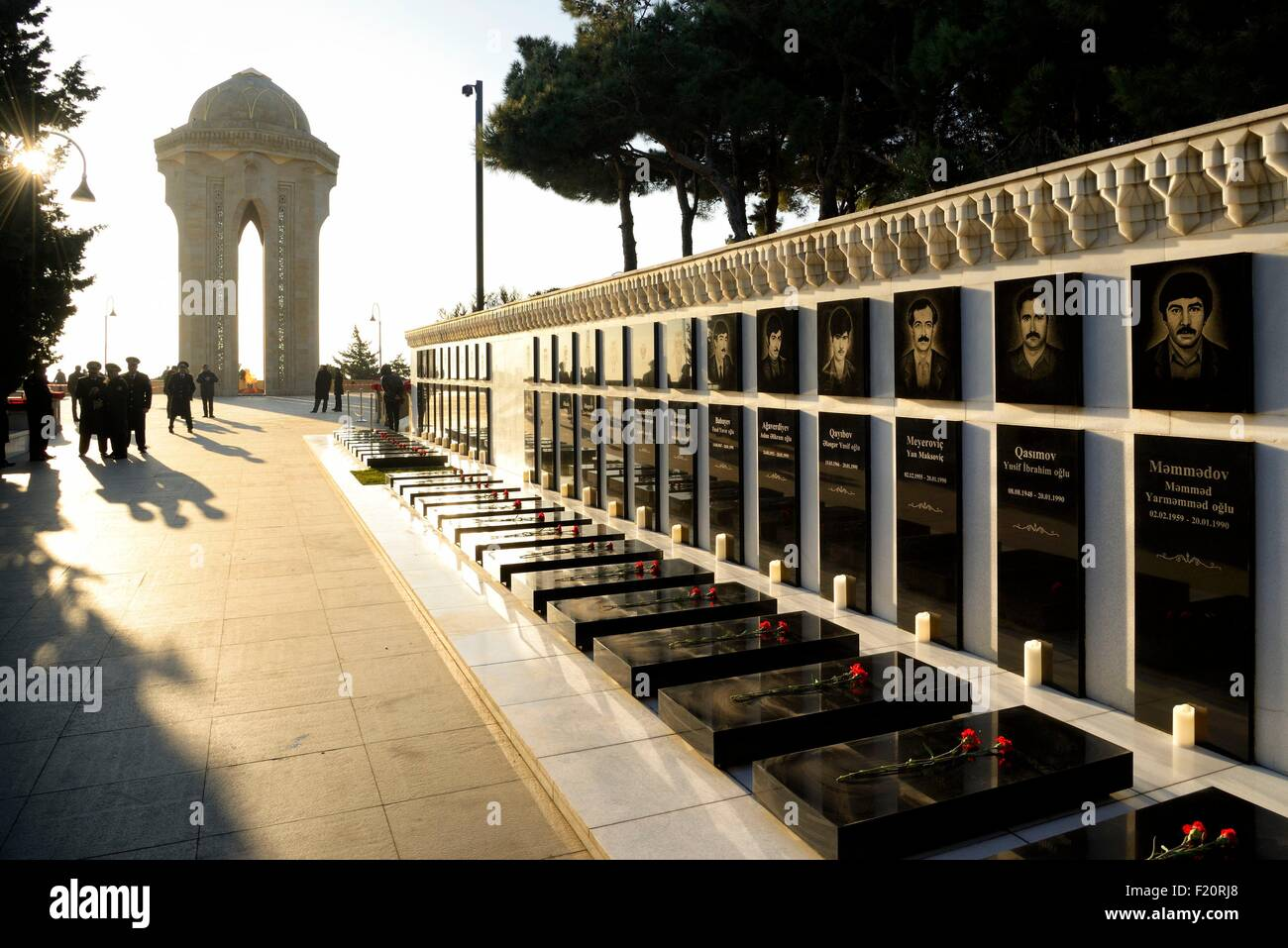 Azerbaijan, Baku, Martyrs' Lane (Alley of Martyrs), memorial and tombs of those killed by the soviet army during - Stock Image
