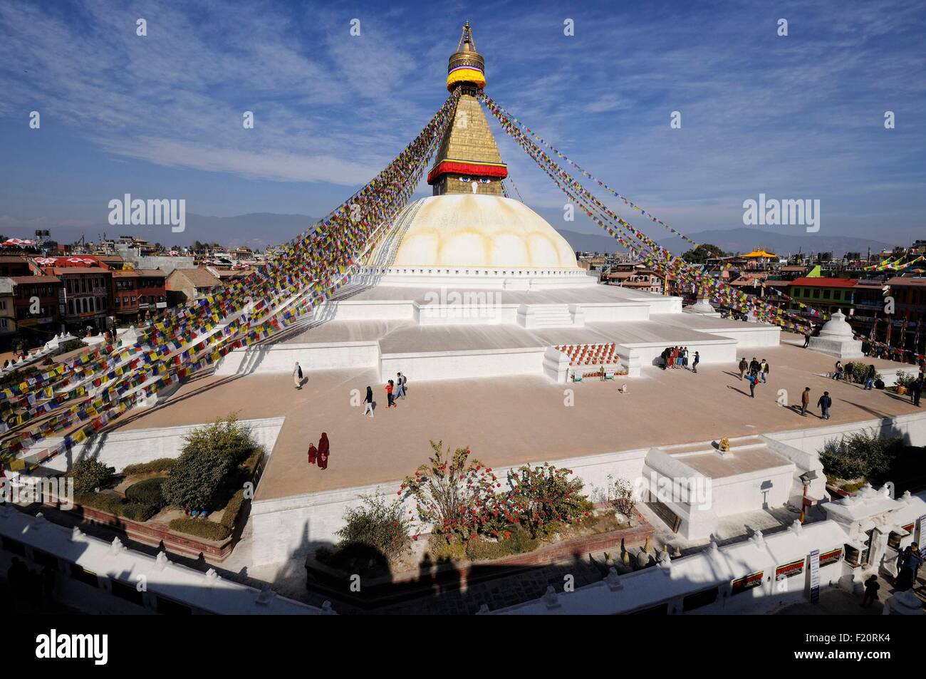 Nepal, Kathmandu valley, Bodnath listed as World Heritage by UNESCO, Bodnath stupa, overall view (archives) - Stock Image