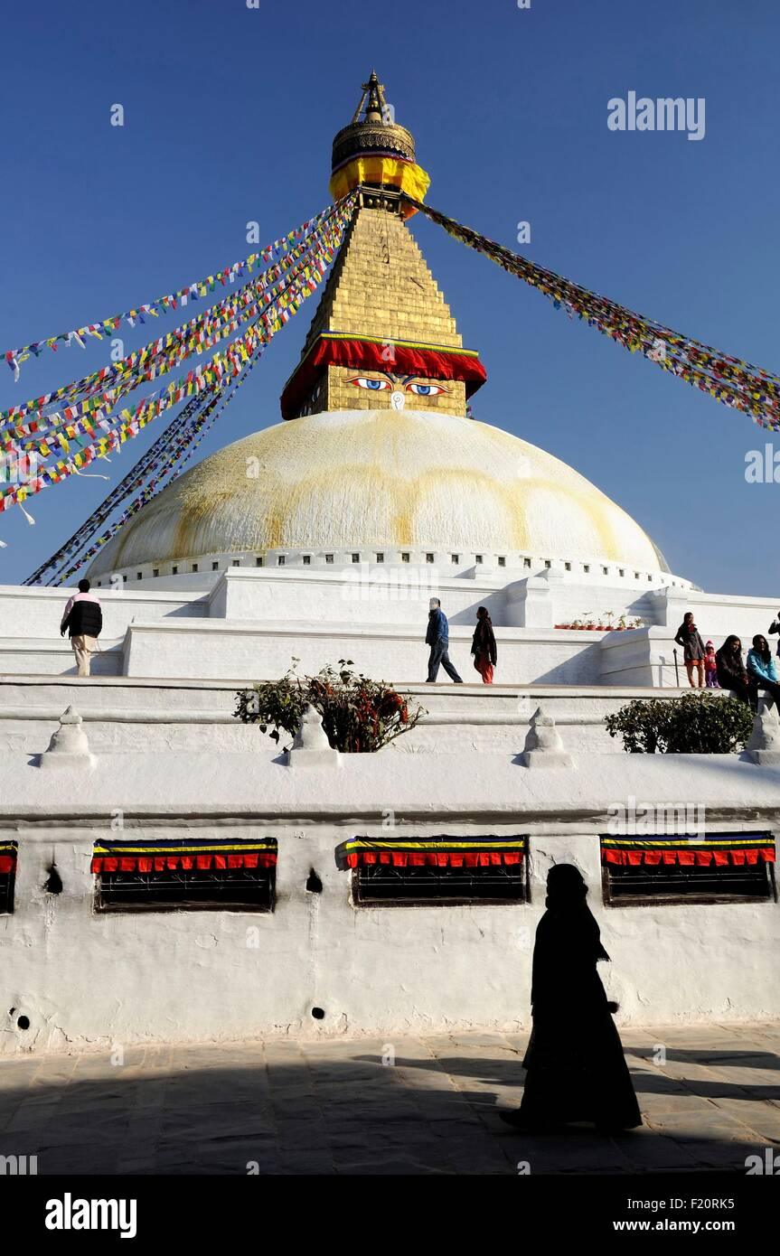 Nepal, Kathmandu valley, Bodnath listed as World Heritage by UNESCO, silhouette in front of the stupa (archives) - Stock Image